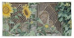 Jesus Looking Through A Lattice With Sunflowers Beach Towel