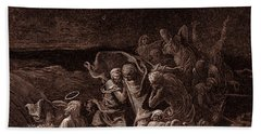 Jesus Stilling The Tempest Beach Towel by Gustave Dore