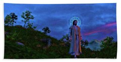 Beach Towel featuring the painting Jesus Walks To The Town by Dave Luebbert