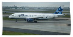 jetBlue Airways Jet N590JB Arriving Hartsfield-Jackson Atlanta International Airport Art Beach Towel