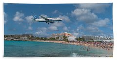 jetBlue at St. Maarten Beach Towel by David Gleeson