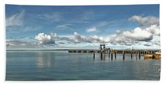 Beach Towel featuring the photograph Jetty To Shore by Stephen Mitchell