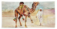 Jewellery And Trappings On Camel. Beach Towel by Khalid Saeed