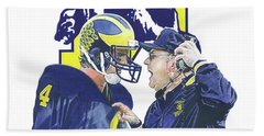 Jim Harbaugh And Bo Schembechler Beach Towel