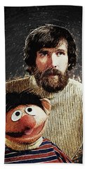 Jim Henson With Ernie Beach Towel by Taylan Apukovska