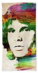 Jim Morrison Colorful Portrait Beach Sheet