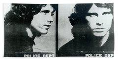 Jim Morrison Mug Shot Horizontal Beach Sheet by Tony Rubino