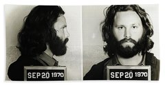 Jim Morrison Mugshot Beach Towel