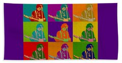 Jimi Hendrix In The Style Of Andy Warhol Beach Sheet