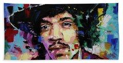 Jimi Hendrix Portrait II Beach Sheet