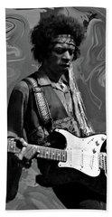 Beach Towel featuring the photograph Jimi Hendrix Purple Haze B W by David Dehner