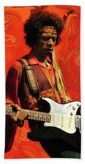Beach Towel featuring the photograph Jimi Hendrix Purple Haze Orange by David Dehner