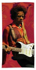 Beach Sheet featuring the photograph Jimi Hendrix Purple Haze Red by David Dehner