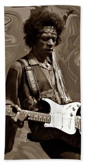 Beach Towel featuring the photograph Jimi Hendrix Purple Haze Sepia by David Dehner