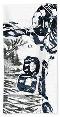 Jimmy Graham Seattle Seahawks Pixel Art 2 Beach Towel by Joe Hamilton