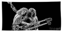 Jimmy Page And Robert Plant Collection Beach Towel by Marvin Blaine