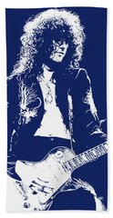 Jimmy Page In Blue Portrait Beach Towel