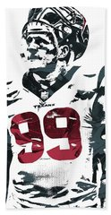 Jj Watt Houston Texans Pixel Art 4 Beach Towel by Joe Hamilton