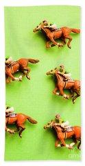 Jockeys And Horses Beach Towel