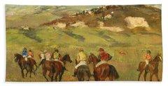 Jockeys On Horseback Before Distant Hills Beach Towel