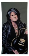 Joe Perry Of Aerosmith Painting Beach Towel by Paul Meijering