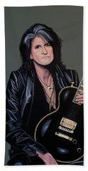 Joe Perry Of Aerosmith Painting Beach Sheet by Paul Meijering