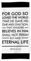 John 3-16 - Spiritual Wall Art - Bible Verses Art Beach Towel