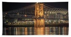 John A. Roebling Suspension Bridge Beach Towel by Scott Meyer