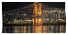John A. Roebling Suspension Bridge Beach Sheet by Scott Meyer