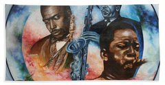 John Coltrane - Jazz Beach Towel by Sigrid Tune