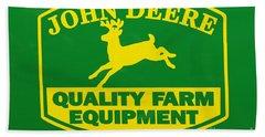 John Deere Farm Equipment Sign Beach Towel