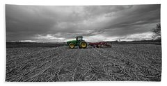 John Deere Tractor On The Farm Beach Towel