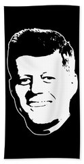 John F Kennedy White On Black Pop Art Beach Towel