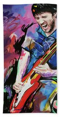 Beach Sheet featuring the painting John Frusciante by Richard Day