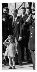 John Kennedy Jr Salute To Father Beach Sheet by Daniel Hagerman