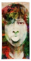 John Lennon Tongue Out Beach Towel