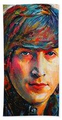 John Lennon Young Portrait Beach Towel