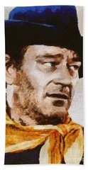 John Wayne, Vintage Hollywood Actor Beach Towel by Mary Bassett