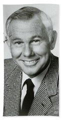Johnny Carson Autographed Print Beach Towel