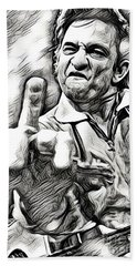 Johnny Cash Says Hello - Abstract Bw Beach Towel