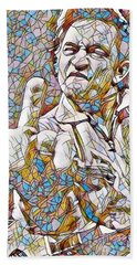 Johnny Cash Says Hello - Stained Glass Beach Towel