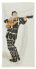 Johnny Cash Typography Art Beach Towel