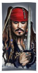 Johnny Depp As Jack Sparrow Beach Sheet by Melanie D