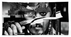 Johnny Depp - Collage Art Abstract - Black And White Beach Towel by Prar Kulasekara
