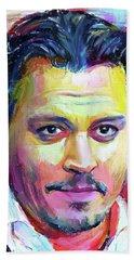 Johnny Depp Colors Portrait Beach Towel