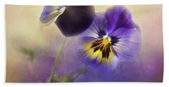Beach Towel featuring the photograph Johnny Jump Up by Theresa Tahara