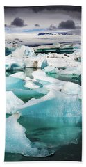 Beach Towel featuring the photograph Jokulsarlon Glacier Lagoon Iceland With Icebergs by Matthias Hauser