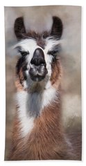 Beach Towel featuring the photograph Jolly Llama by Robin-Lee Vieira