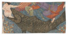 Jonah And The Whale Beach Towel by Iranian School