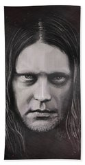 Beach Sheet featuring the drawing Jonas P Renkse Musician From Katatonia Band By Julia Art by Julia Art